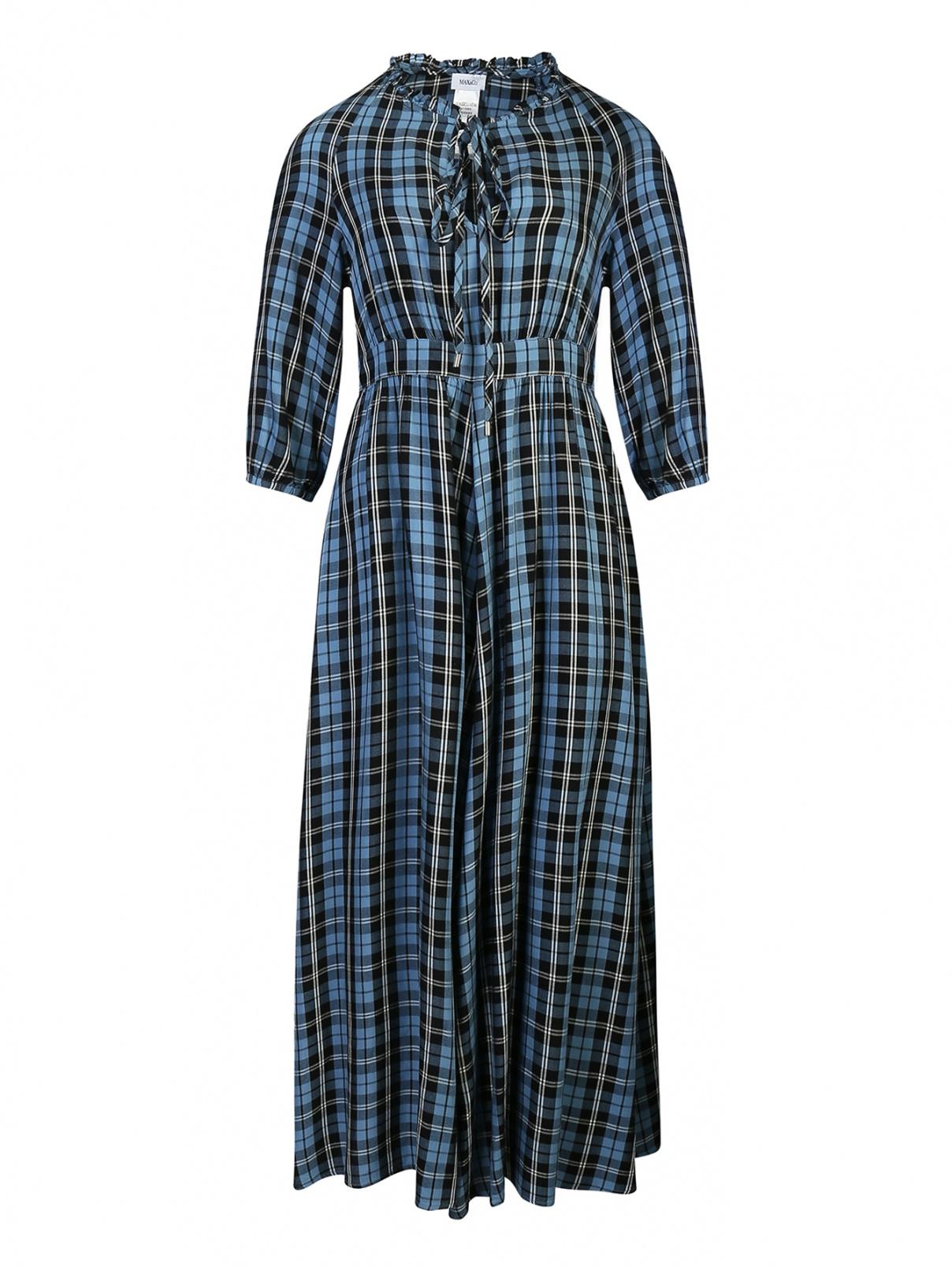 Платье-макси в клетку Max&Co  –  Общий вид  – Цвет:  Синий