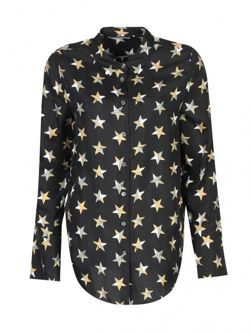 Блуза из шелка с принтом и пуговицами по бокам - Общий вид