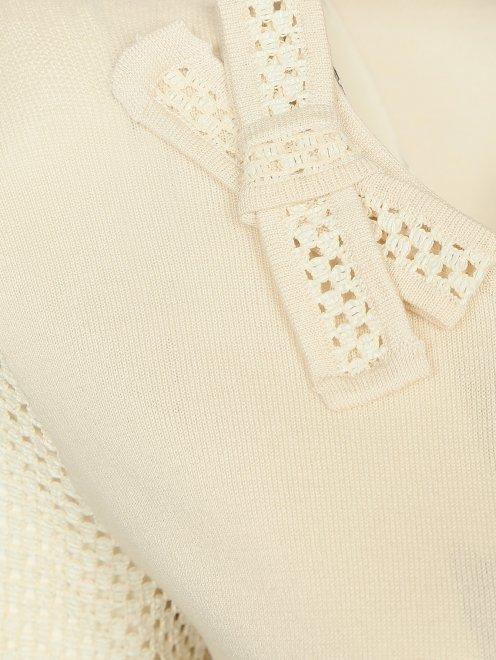 Кардиган из шелка и хлопка с плетеными рукавами - Деталь1