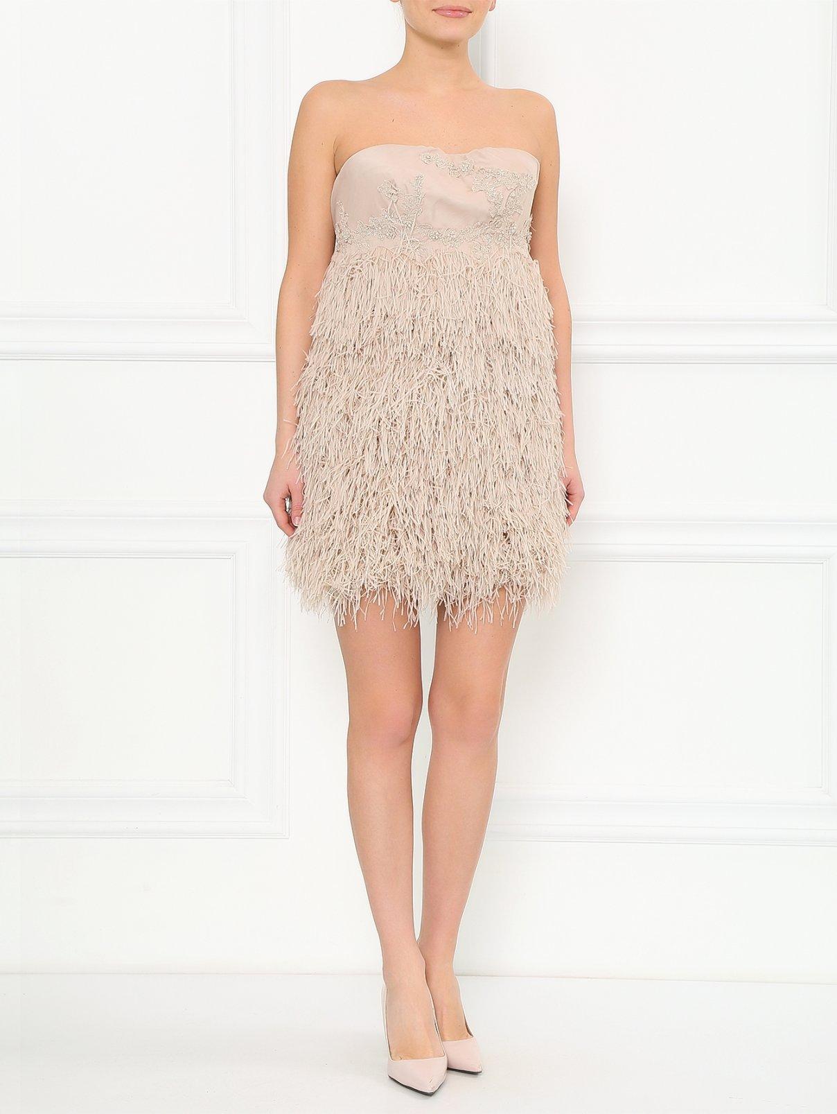 Платье-корсет из шелка Ermanno Scervino  –  Модель Общий вид  – Цвет:  Бежевый