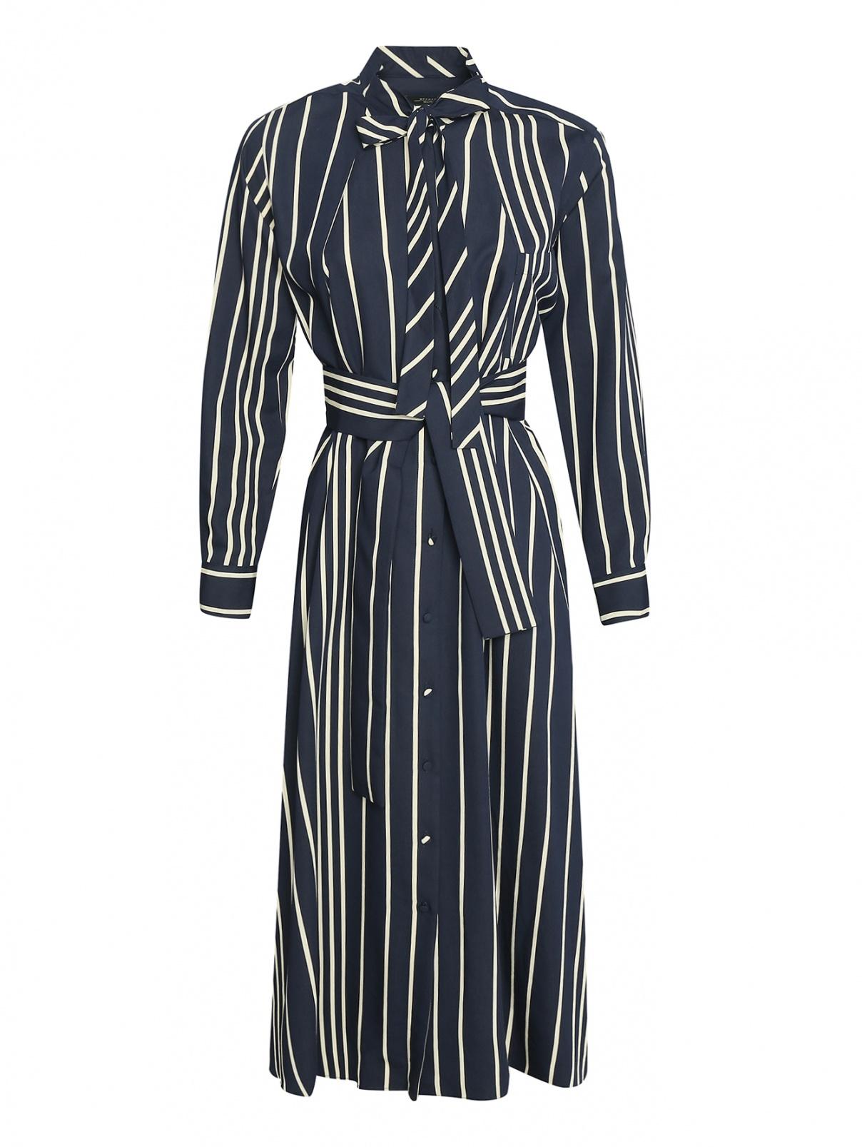 Платье в полоску длина миди на поясе Weekend Max Mara  –  Общий вид  – Цвет:  Узор