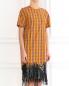 Платье-мини из хлопка декорированное пайетками N21  –  Модель Верх-Низ