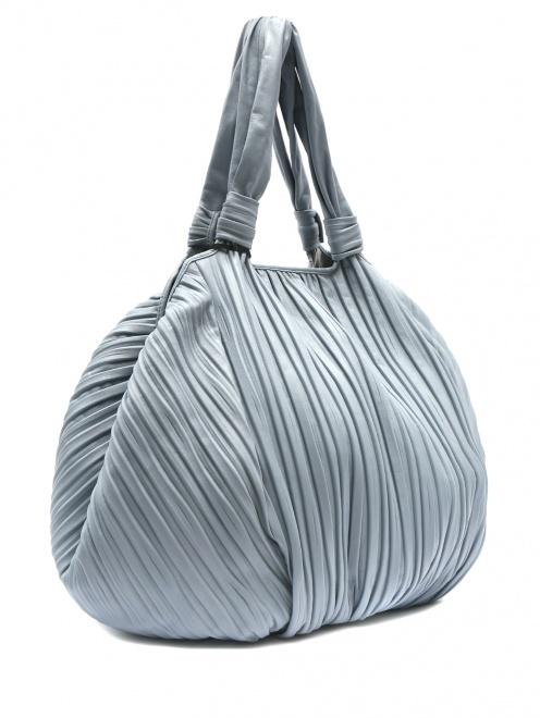 Объемная сумка из кожи на коротких ручках - Обтравка1