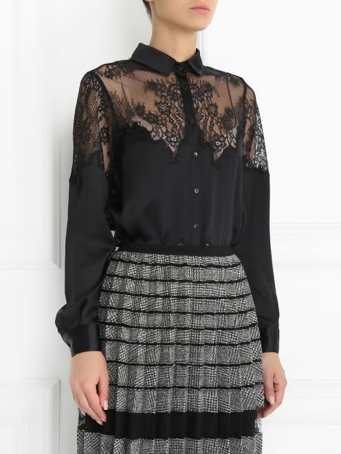Блуза из шелка с кружевной отделкой - Модель Верх-Низ