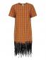 Платье-мини из хлопка декорированное пайетками N21  –  Общий вид