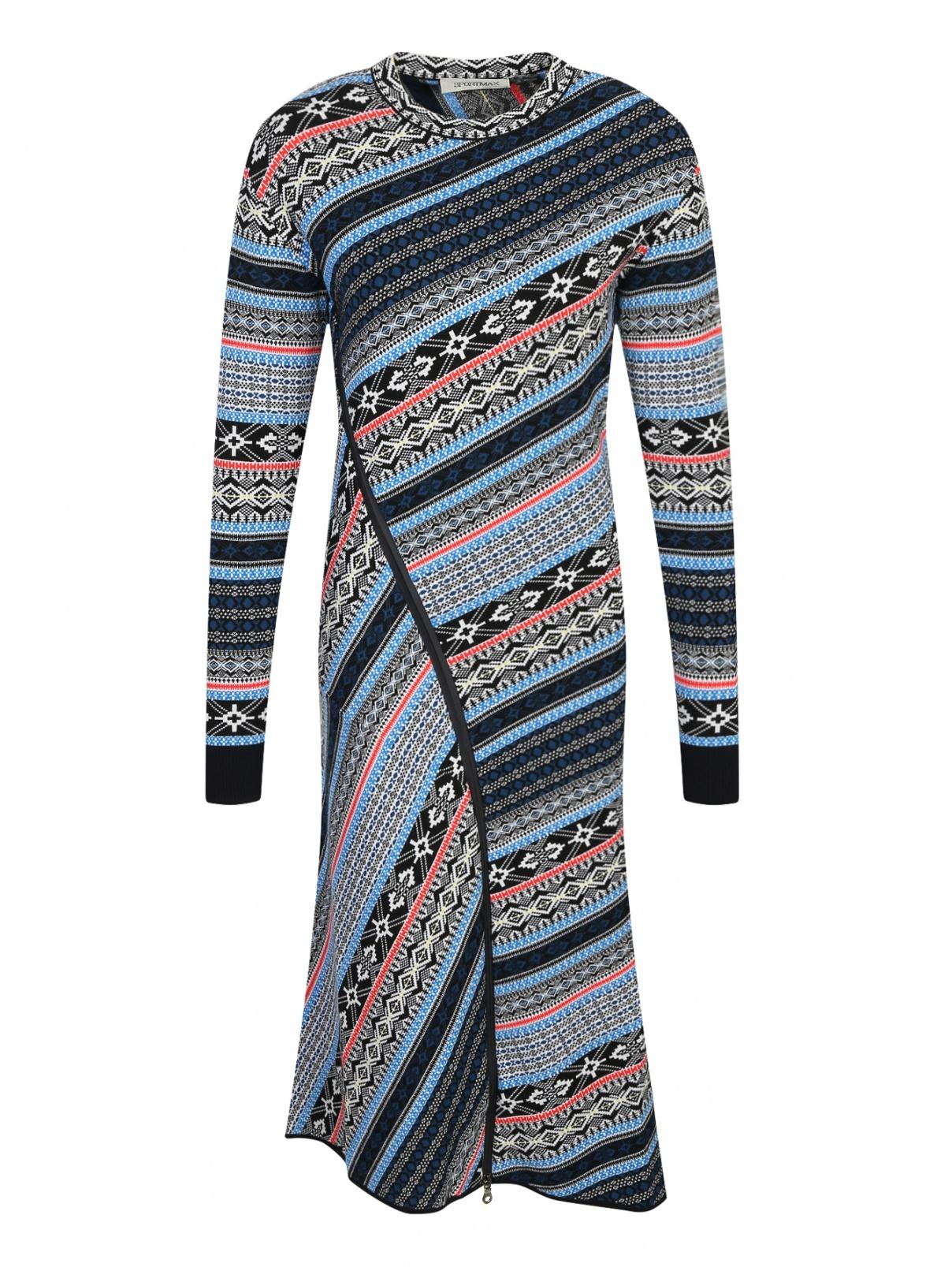 Трикотажное платье из шерсти с узором Sportmax  –  Общий вид