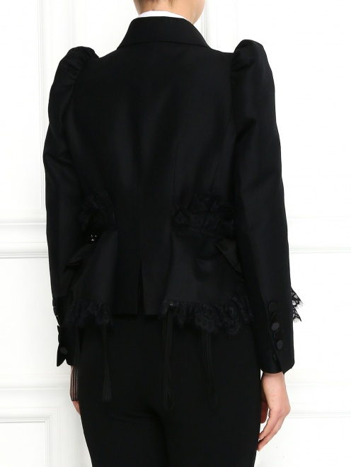 Жакет из шерсти и шелка с объемными рукавами и кружевом - Модель Верх-Низ1