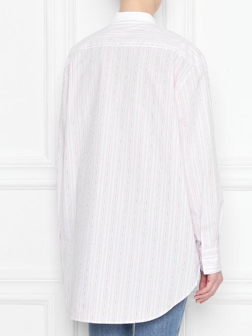 Блуза из хлопка в полоску с оборками - МодельВерхНиз1