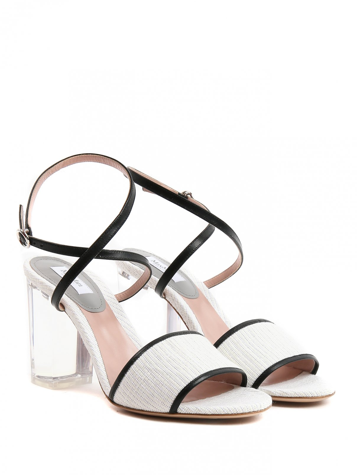 Босоножки из текстиля на прозрачном каблуке Max Mara  –  Общий вид  – Цвет:  Белый