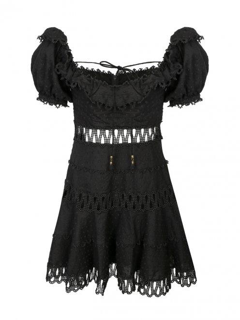 Платье из хлопка, с отделкой кружевом - Общий вид