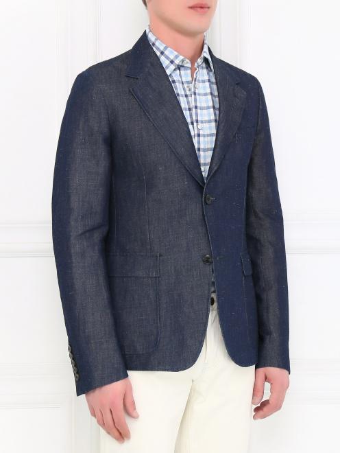 Пиджак однобортный из денима - Модель Верх-Низ