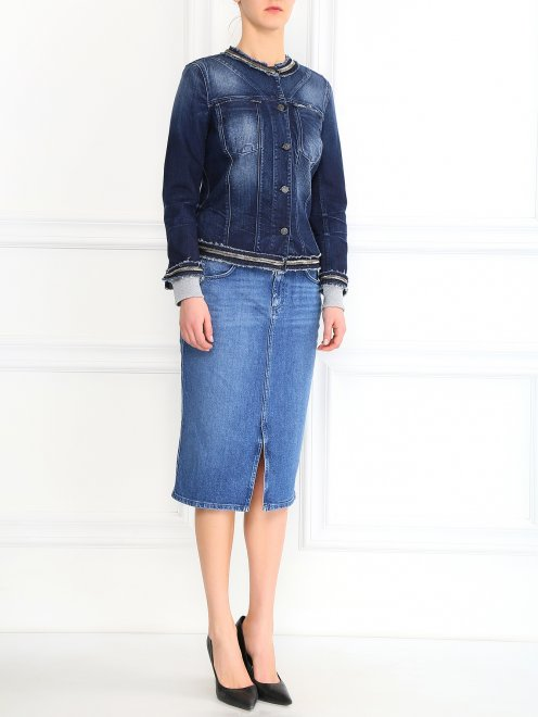 Джинсовая куртка декорированная стеклярусом - Общий вид