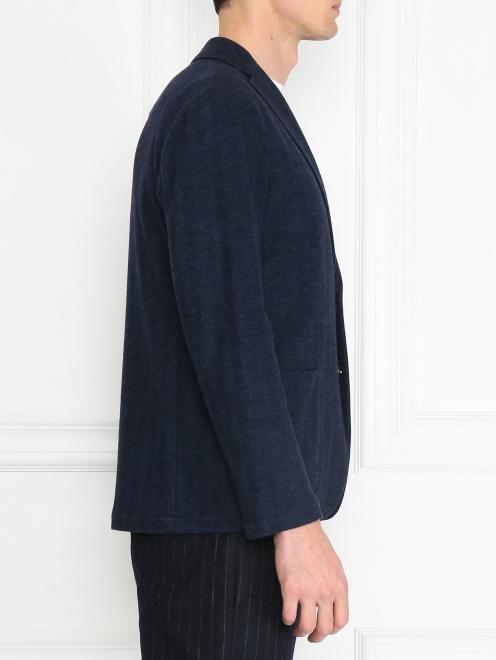 Трикотажный пиджак из смеси хлопка и шерсти  - МодельВерхНиз2