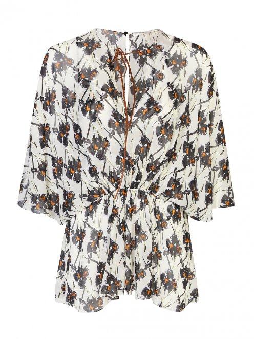 Блуза из шелка с принтом свободного кроя - Общий вид