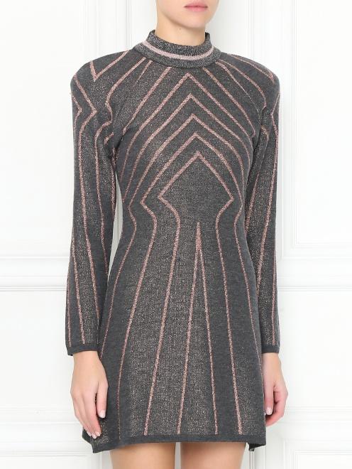 Трикотажное платье-мини из шерсти с узором - МодельВерхНиз