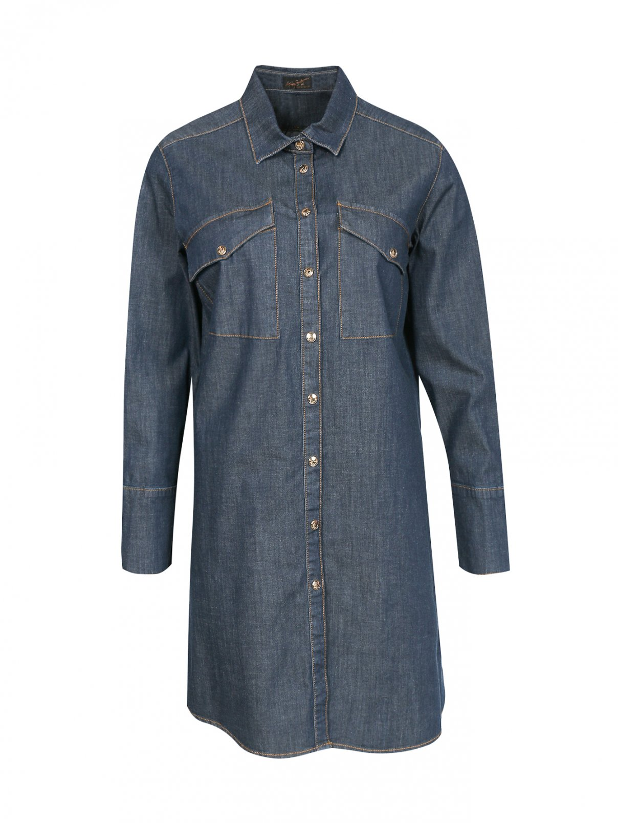 Удлиненная рубашка из денима Ashley Graham x Marina Rinaldi  –  Общий вид  – Цвет:  Синий