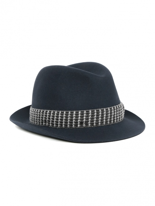 Шляпа из шерсти с контрастной вставкой  - Общий вид