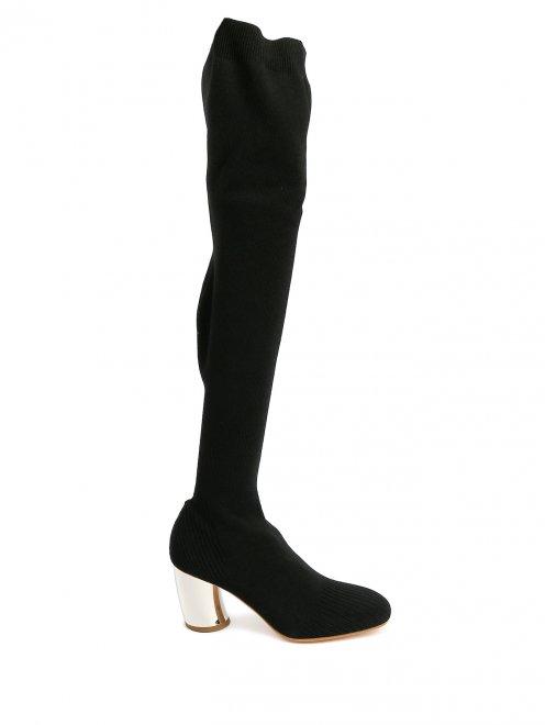 Трикотажные сапоги-ботфорты на контрастном каблуке - Общий вид
