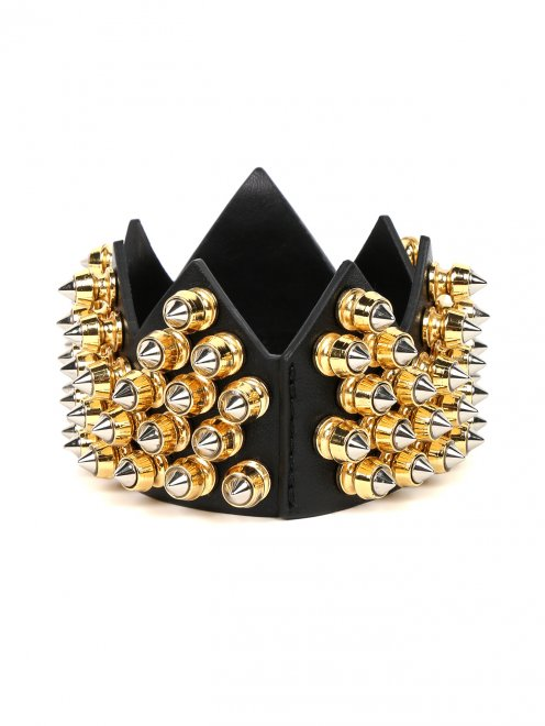 Корона из кожи с декоративной отделкой из металла - Обтравка1