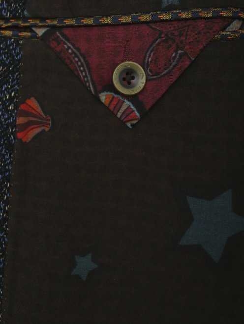 Пиджак однобортный из льна с узором  - Деталь2