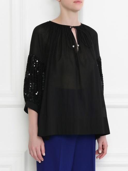 Блуза из хлопка свободного кроя декорированная пайетками - Модель Верх-Низ