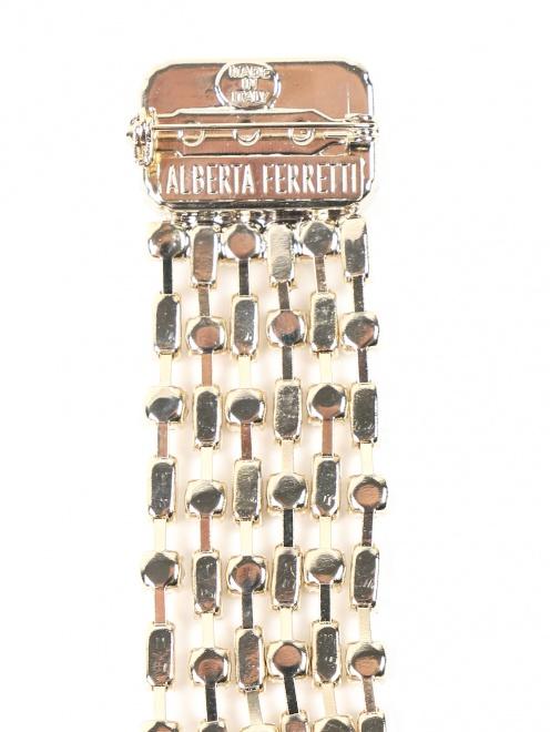 Брошь из металла декорированная кристаллами - Деталь1