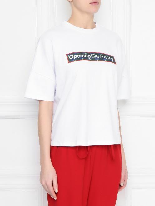 Укороченная футболка из хлопка с принтом - МодельВерхНиз
