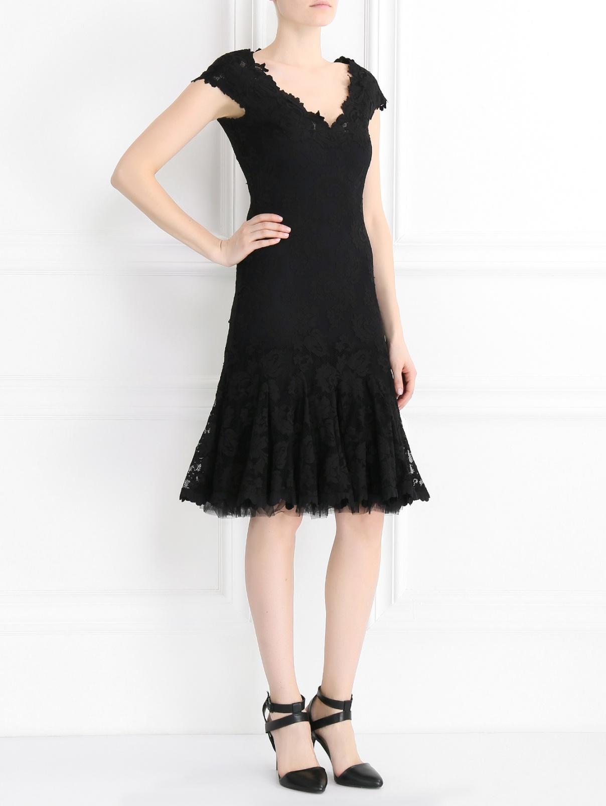 Платье-мини из кружева OLVI`S  –  Модель Общий вид  – Цвет:  Черный