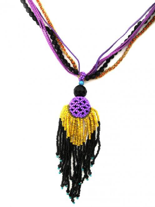 Ожерелье из хлопка и бисера - Деталь