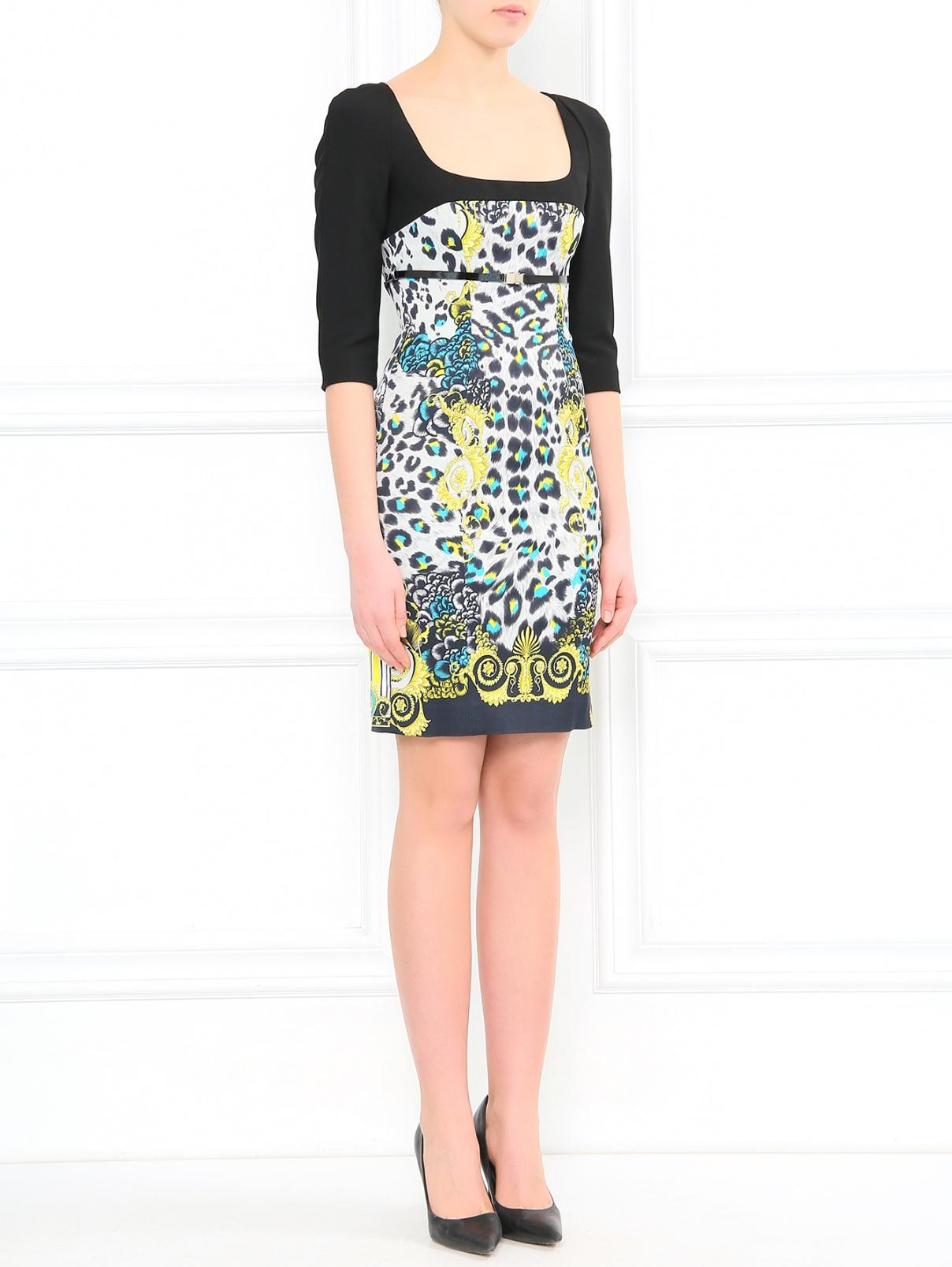 Платье-футляр с узором Versace Collection  –  Модель Общий вид  – Цвет:  Черный