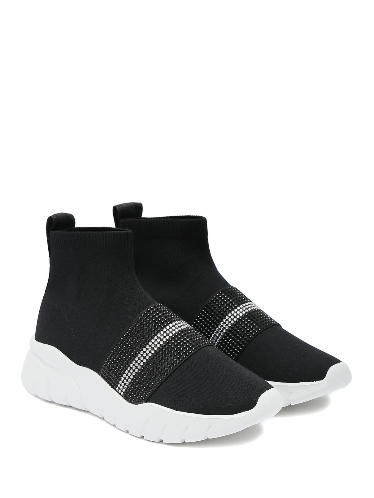 Кроссовки со вставками из страз Bally  –  Общий вид  – Цвет:  Черный
