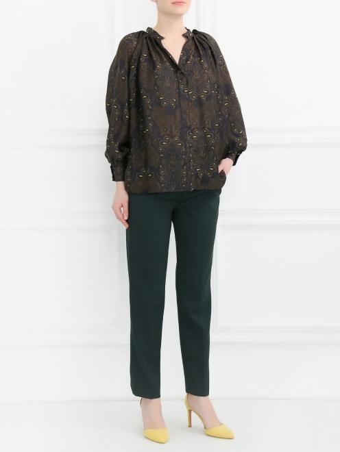Блуза из шелка свободного кроя с узором - Общий вид