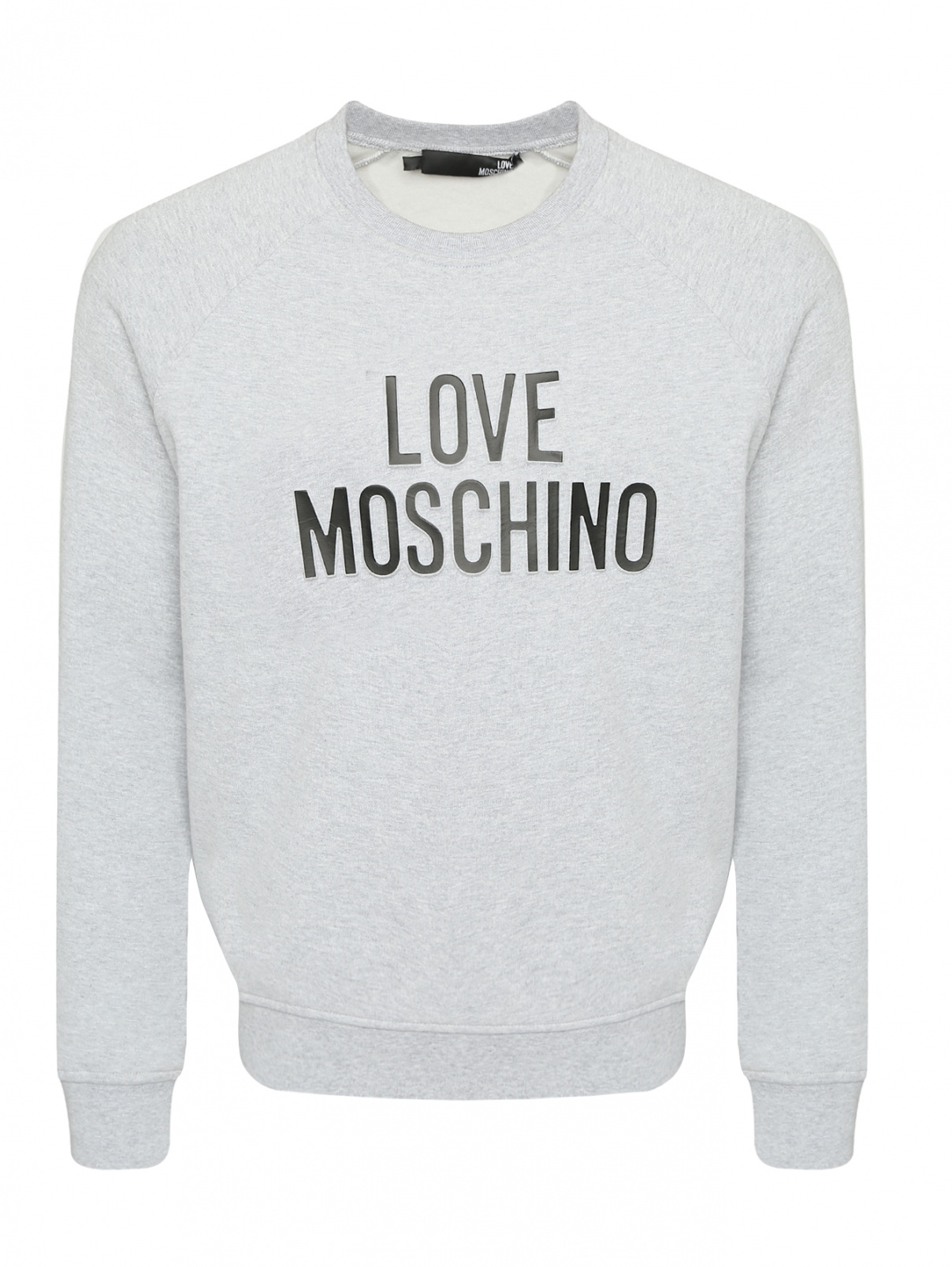 Свитшот из хлопка с принтом Love Moschino  –  Общий вид  – Цвет:  Серый