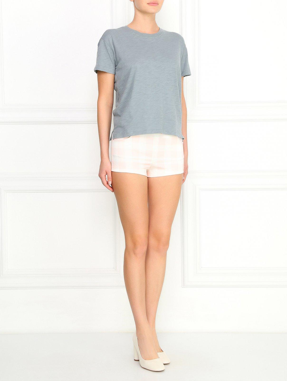 Узкие укороченные шорты из хлопка с узором Au Jour Le Jour  –  Модель Общий вид  – Цвет:  Узор