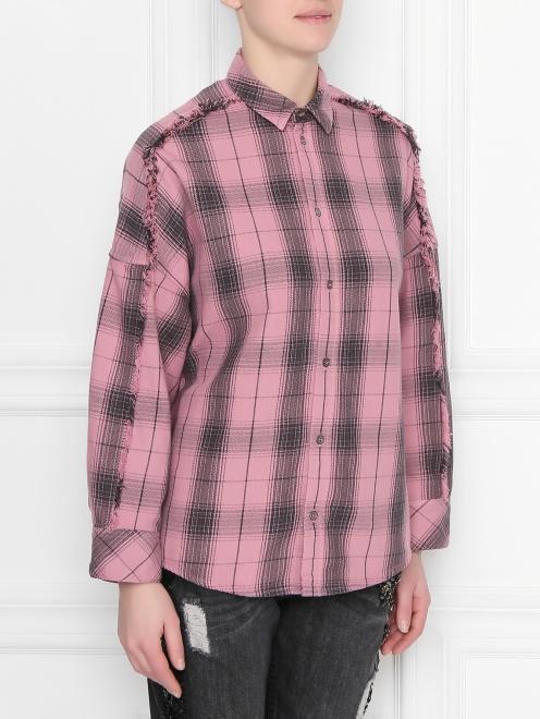 Рубашка хлопковая с узором клетка - МодельВерхНиз