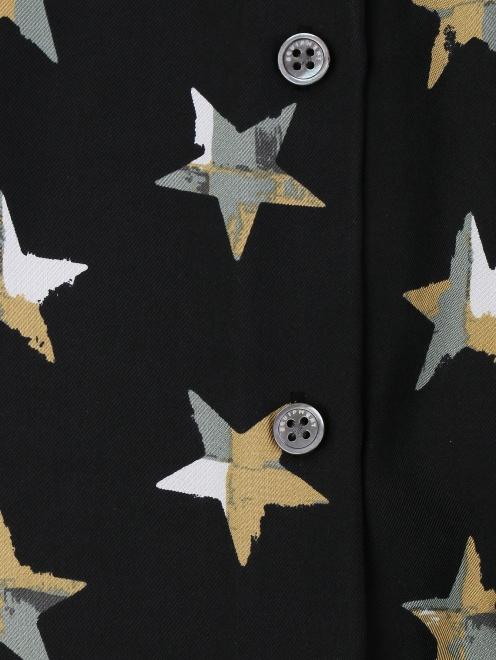 Блуза из шелка с принтом и пуговицами по бокам - Деталь