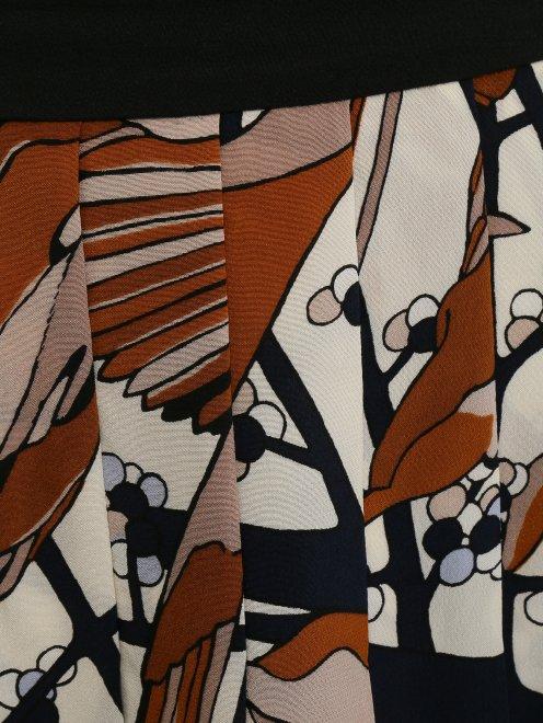 Юбка-мини из шелка с цветочным узором  - Деталь