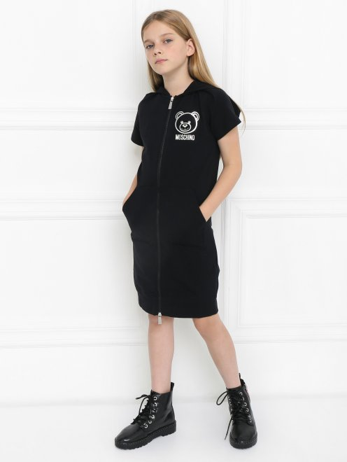 Платье трикотажное с капюшоном - Общий вид