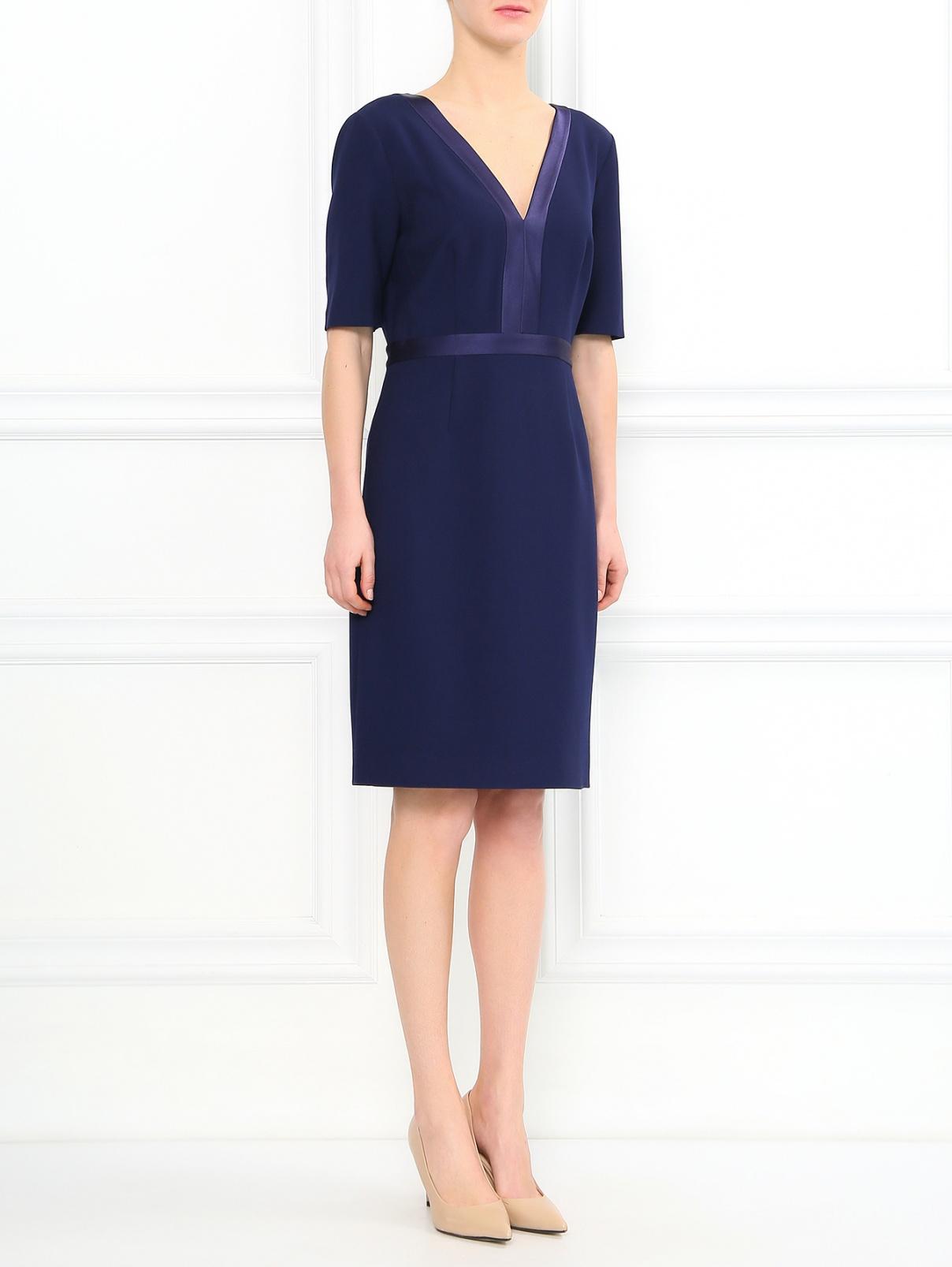 Трикотажное платье-футляр с рукавами 3/4 Diane von Furstenberg  –  Модель Общий вид  – Цвет:  Синий