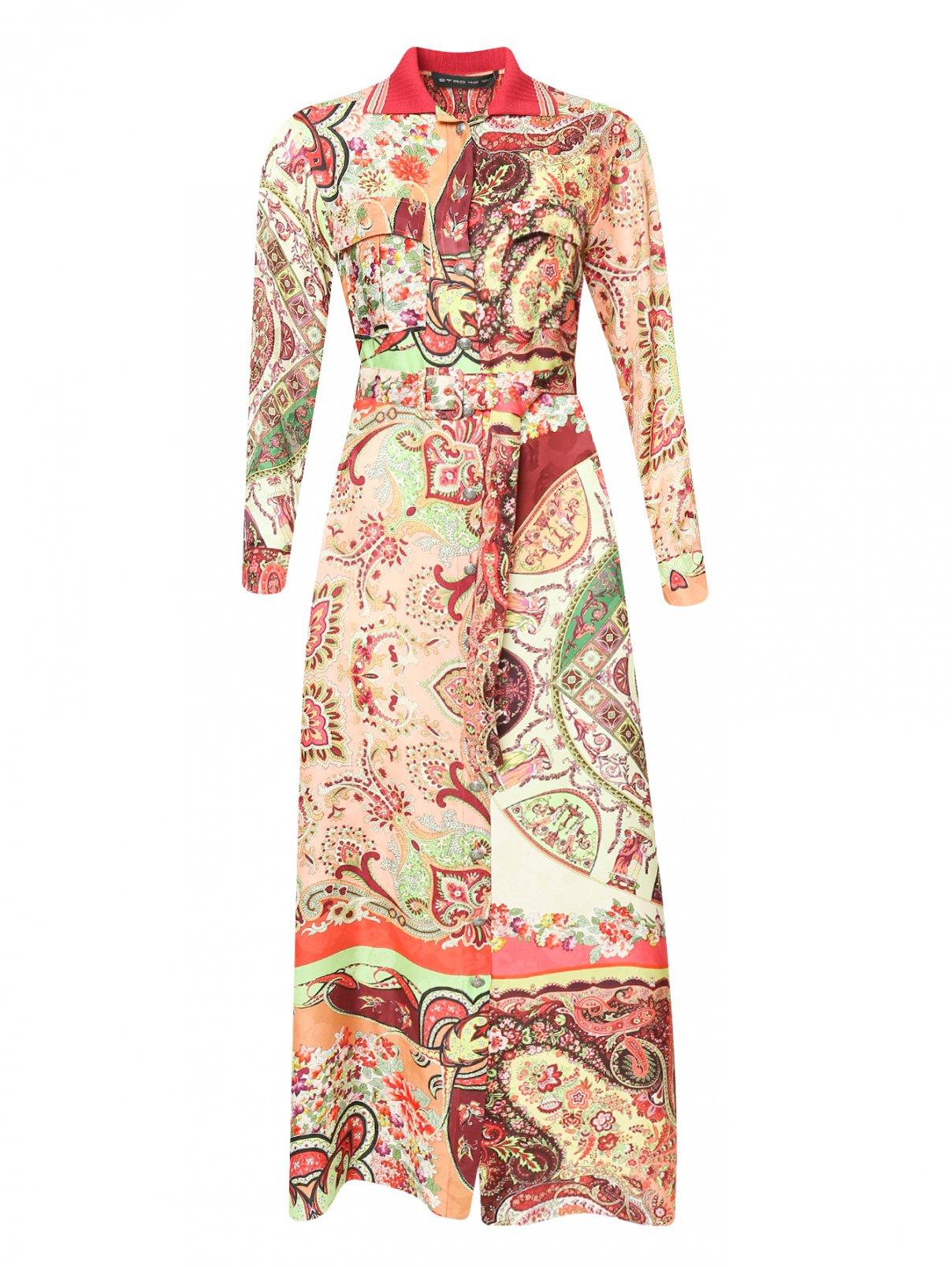 Платье-макси из смешанного шелка с узором Etro  –  Общий вид