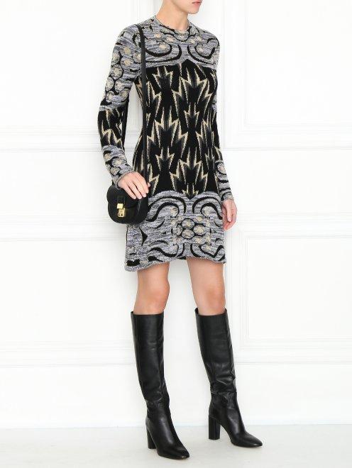 Трикотажное платье из шерсти с узором - Общий вид