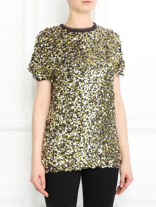 Блуза из хлопка декорированная пайетками - Модель Верх-Низ