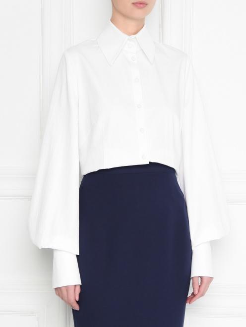 Рубашка из хлопка с манжетами - МодельВерхНиз