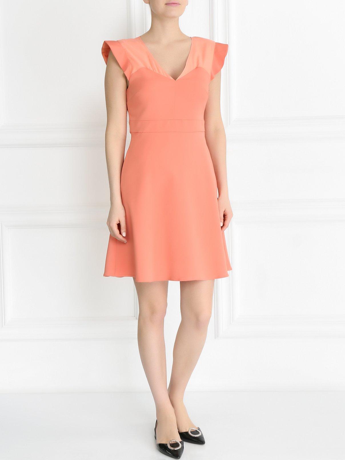 Платье-мини с воланами Max&Co  –  Модель Общий вид  – Цвет:  Розовый