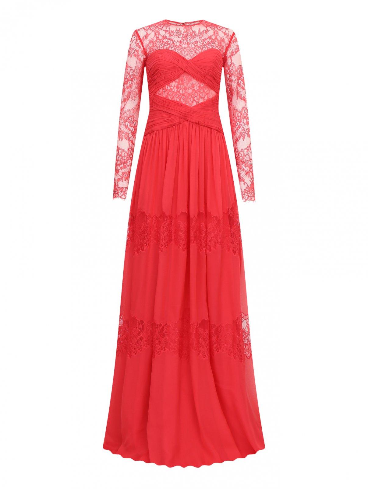Платье-макси из шелка с кружевной отделкой Zuhair Murad  –  Общий вид