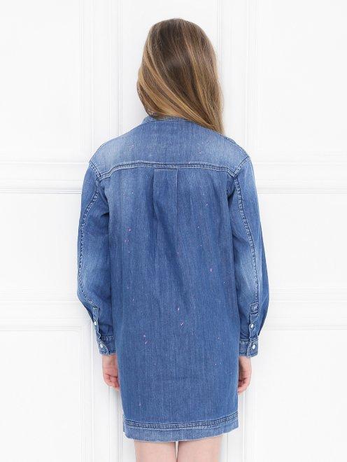 Платье-рубашка из денима - МодельВерхНиз1