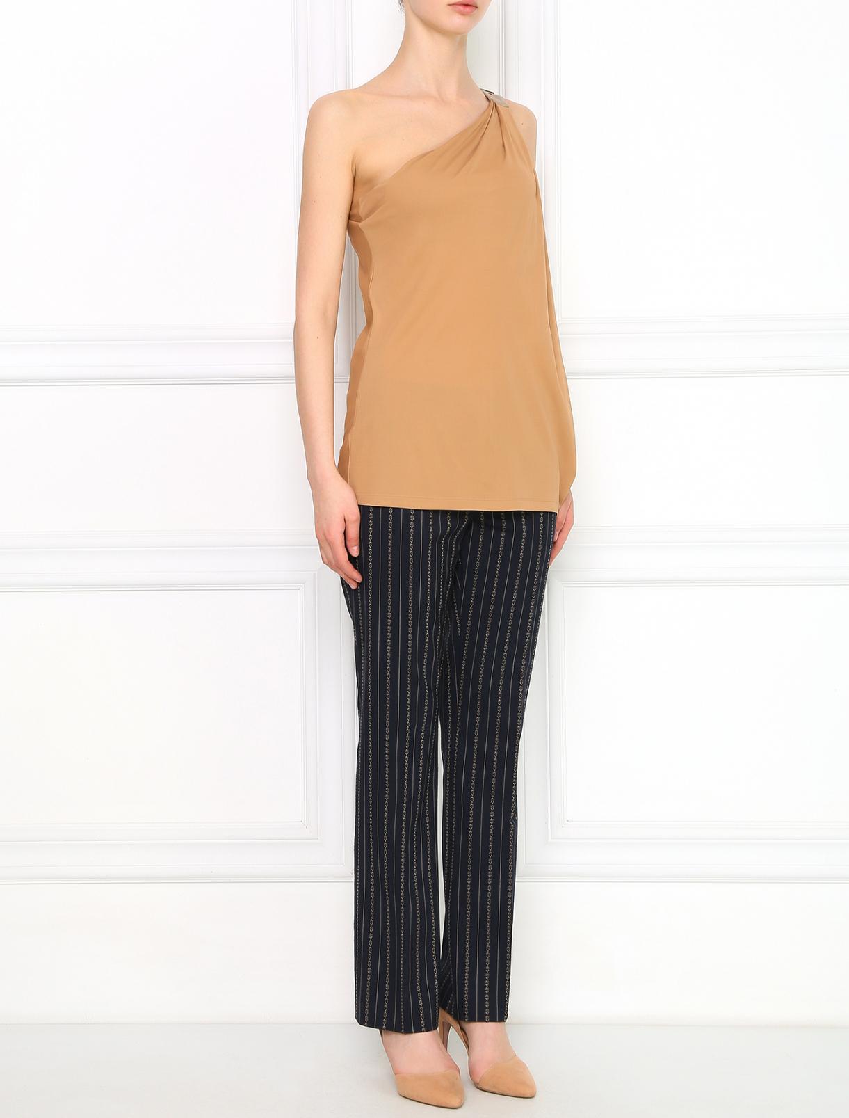 Прямые укороченные брюки с узором Alberta Ferretti  –  Модель Общий вид