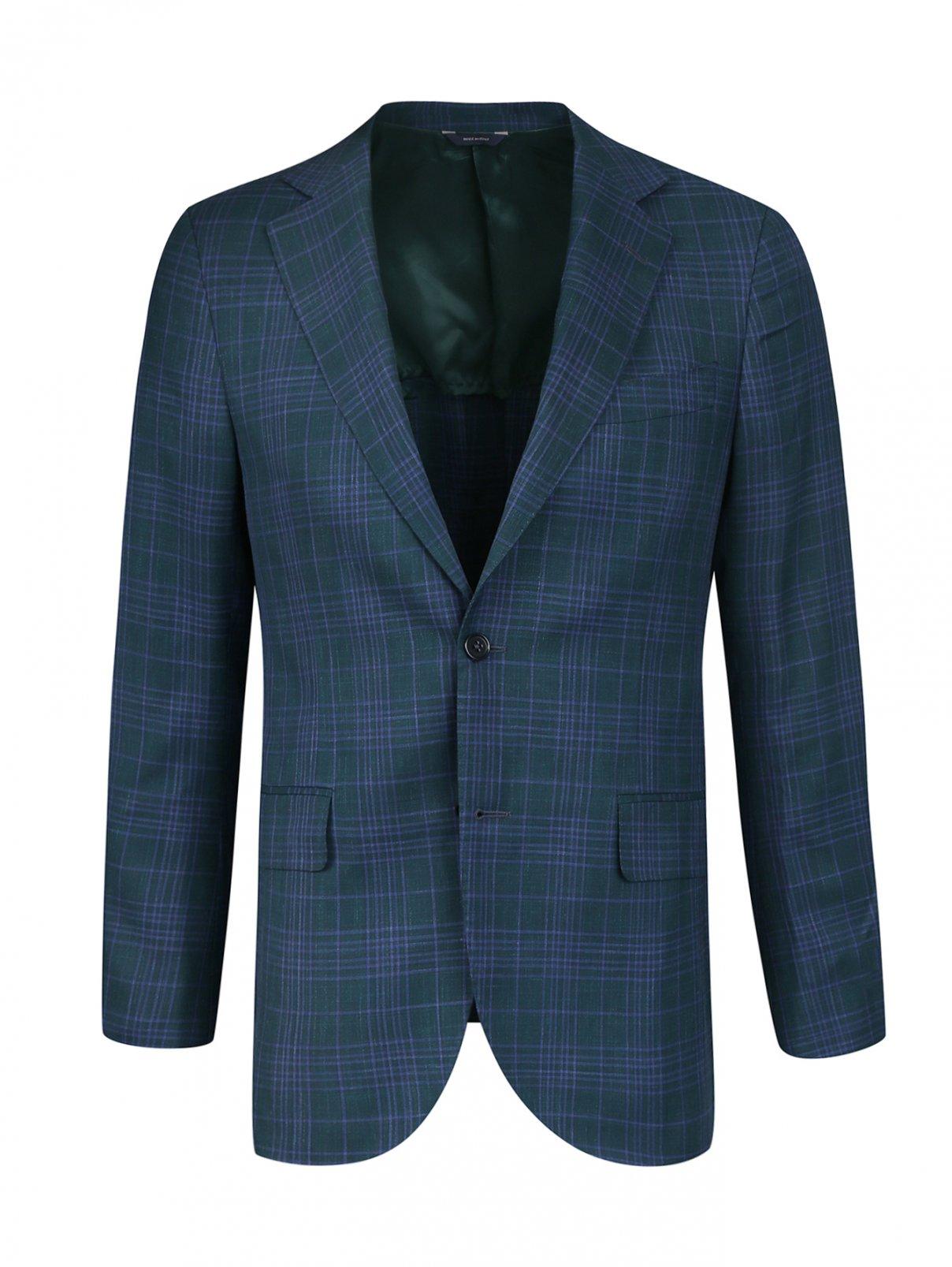 Пиджак из шерсти и шелка Tombolini  –  Общий вид  – Цвет:  Зеленый