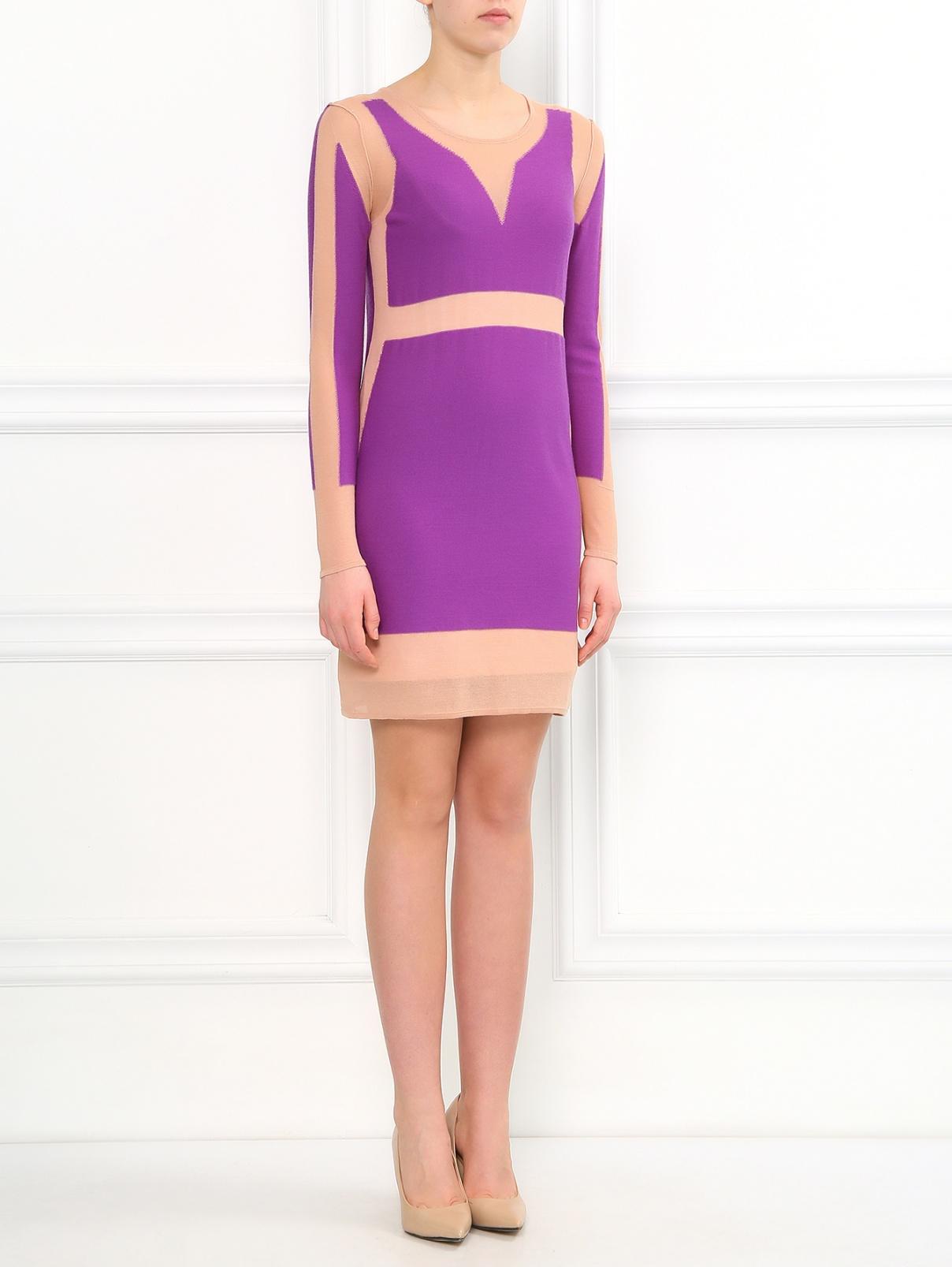Платье из смешанного хлопка и шерсти Sonia Rykiel  –  Модель Общий вид  – Цвет:  Синий