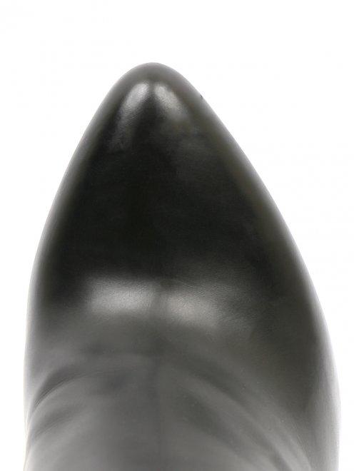 Сапоги из гладкой кожи на высоком каблуке - Обтравка3